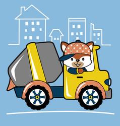 Fox driving mixer truck cartoon vector