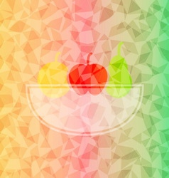 Fresh fruit basket on dazzled triangle background vector