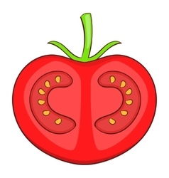 Fresh red tomato icon cartoon style vector