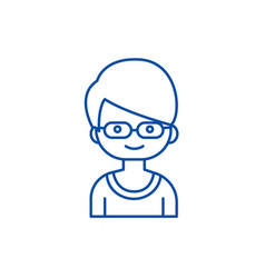 geek boy with glasses line icon concept geek boy vector image