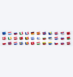 giant european flag set with europe country flags vector image