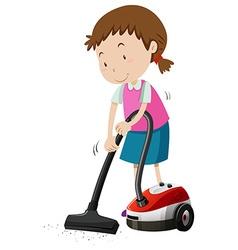 Girl vacumming the floor with machine vector