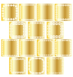 Gold square labels vector