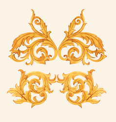 Golden baroque rich luxury elements vector
