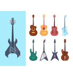 guitars stylish set instruments acoustic for jazz vector image