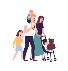 happy family walking together smiling mother vector image