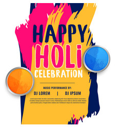 Happy holi celebration invitation poster design vector