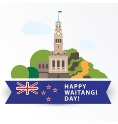 Happy Waitangi day 6 February New Zeland vector image