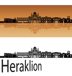 Heraklion skyline in orange vector image