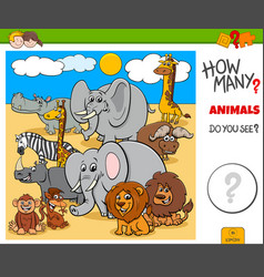 How many animals educational task for kids vector