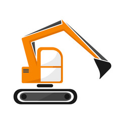 hydraulic tracked excavator of orange color vector image