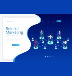 Isometric referral marketing network marketing vector