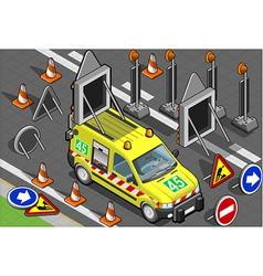Isometric roadside assistance van vector