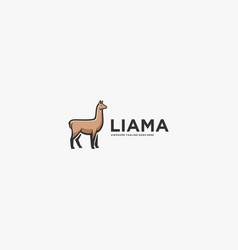 Logo alpacas elegant line art style vector