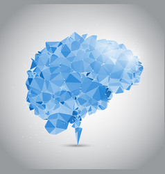 low poly brain with connecting dots vector image