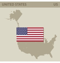 Map and Flag of USA vector