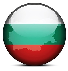 Map on flag button of Republic of Bulgaria vector image