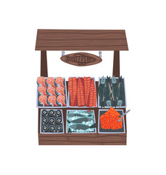Market wooden counter with fresh fish street shop vector