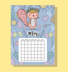 May calendar information with squirrel and flowers vector