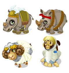 military rhinoceros sheep and monkey cosmonaut vector image