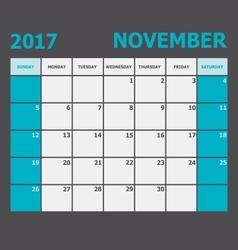 November 2017 november calendar week starts on vector