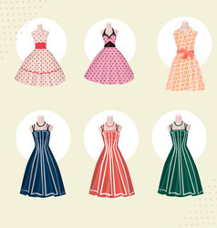 Old school clothes dresses from 80s vector image