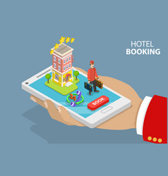 Online hotel search and booking flat isometric vector