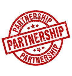 Partnership round red grunge stamp vector