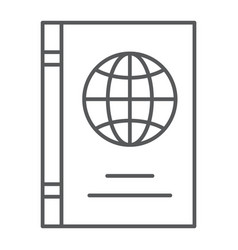 passport thin line icon identification and travel vector image