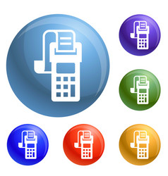 Payment terminal icons set vector