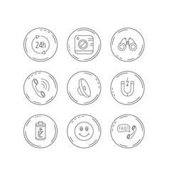 phone call battery and faq speech bubble icons vector image