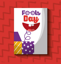 Prank box with happy mouth fools day card vector