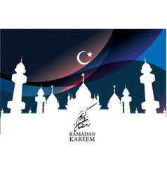 ramadan kareem with mosque and crescent vector image