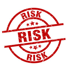 Risk round red grunge stamp vector