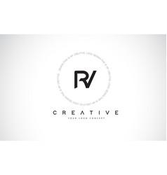 Rv r v logo design with black and white creative vector