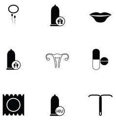safe sex icon set vector image