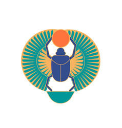 Scarab beetle holding sun ancient egyptian vector