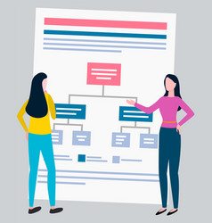 Scheme or graphic office workers isolated women vector