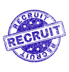Scratched textured recruit stamp seal vector