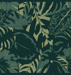 seamless composition dark green color leaves vector image