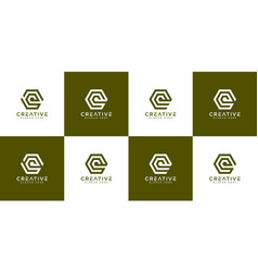 set initial letter q logo design vector image
