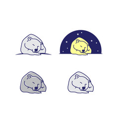 set of cartoon line art sleeping bear vector image