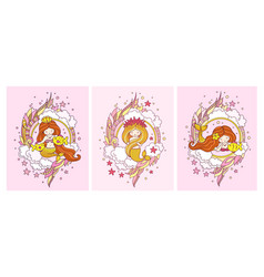 set of posters with little sweet mermaids and fish vector image
