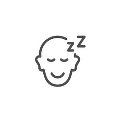 sleeping person line icon vector image