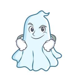Smirking cute ghost character cartoon vector