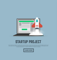 start up rocket and laptop vector image vector image
