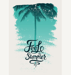 Summer time phrase calligraphic grunge poster vector