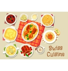 Swiss cuisine dinner with chocolate dessert icon vector image
