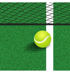 Tennis ball next to the line of the tennis court vector image