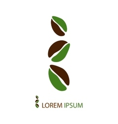 Three green and brown coffee beans as logo vector image